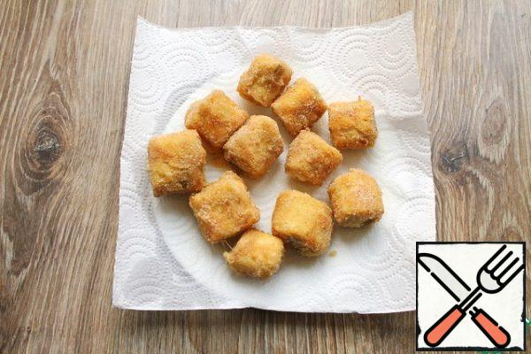 Fry them in hot oil until crisp on all sides, about 2-3 minutes on each side. Transfer the finished snack to a paper towel to remove excess oil.