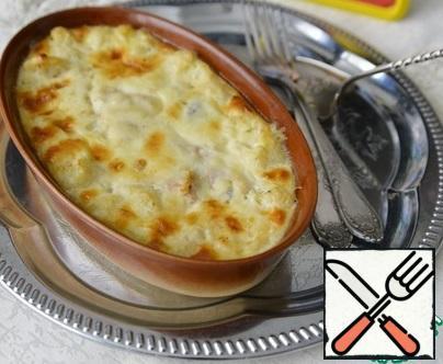 Serve the casserole hot.