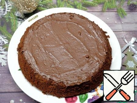 Bake in a preheated oven at 170 degrees for 55 minutes. Cool. Top with chocolate paste. Enjoy your tea!!!