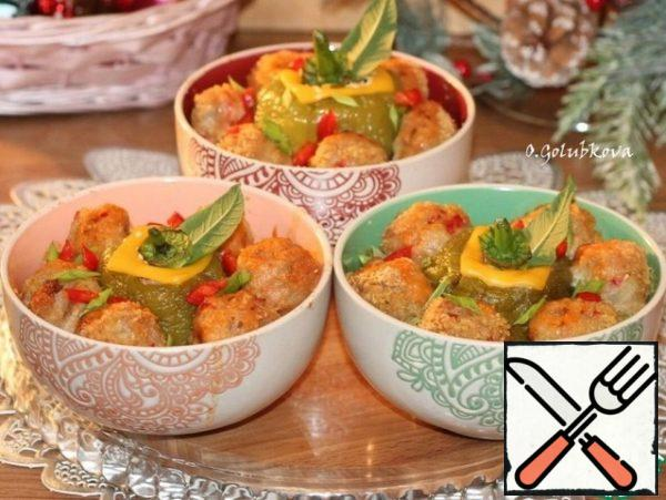 The prepared dish can be garnished with laminated melted cheese and herbs.