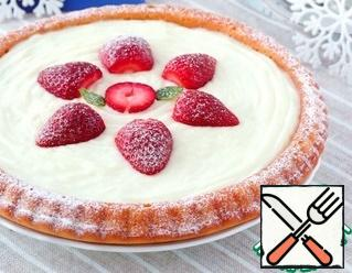 Sprinkle the cake with non-melting sugar. Let the cake cool and put in the refrigerator for about 1 hour - 1.30 minutes.