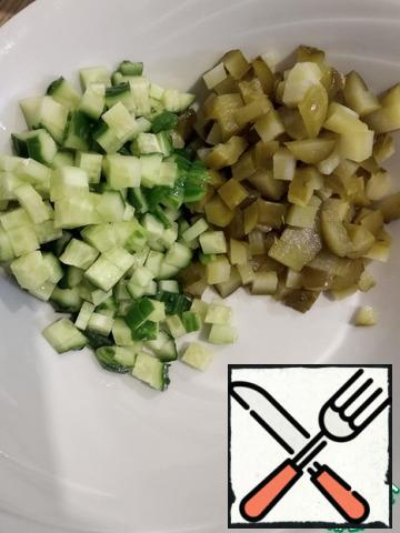 Cucumbers cut into cubes.
