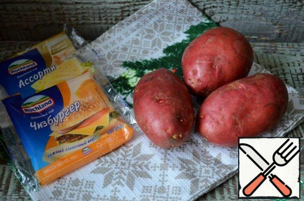 Wash the potatoes thoroughly and dry them. Bake until tender, 30-40 minutes, 190-200 degrees.