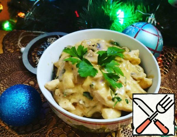 Chicken with Mushrooms in Cheese Sauce Recipe