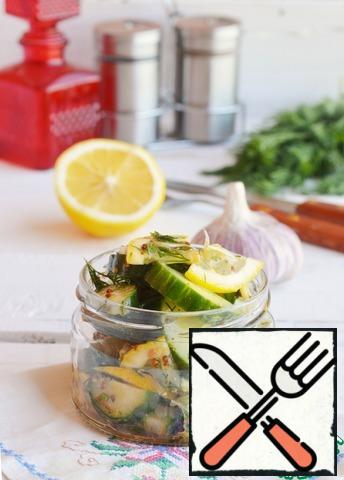 For marinating, 2-3 hours are enough. You can prepare a snack before going out on a picnic, put it in a jar and take it with you! A great juicy delicious snack for meat is provided to you!