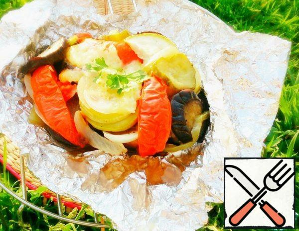 Vegetables with Cheese, baked in Foil Recipe