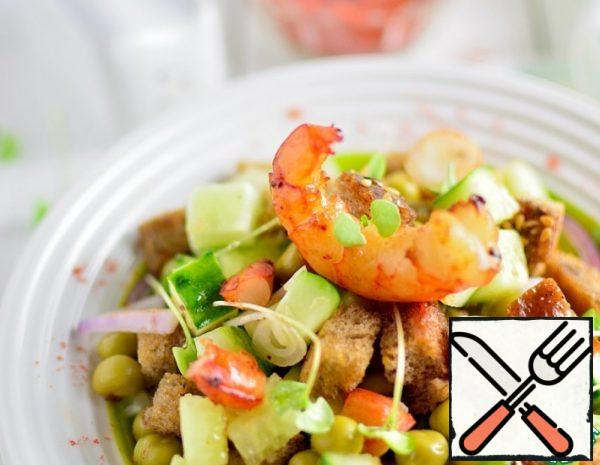 Cucumber Salad with Shrimp and Croutons Recipe