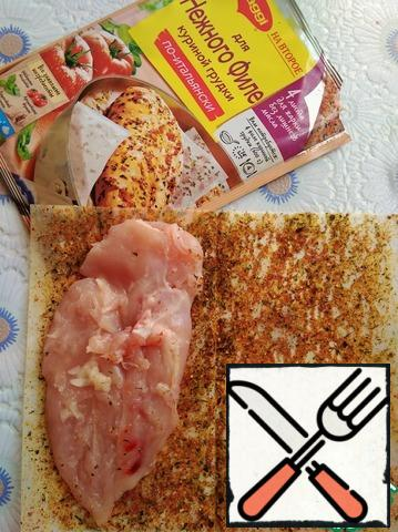 Prepare the chicken fillet according to the instructions on the package. The second is for the tender chicken breast fillet.
