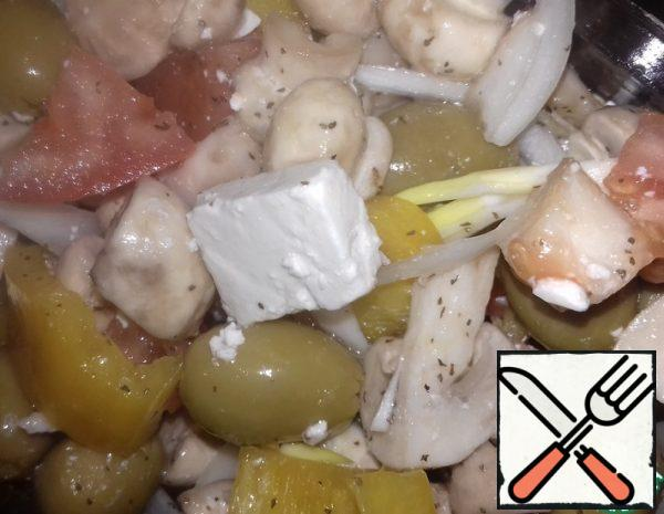 Vegetable Salad with Raw Mushrooms Recipe