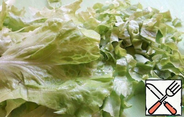 Lettuce leaves-in strips.