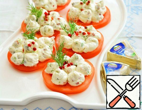 Appetizer with melted Cheese on Tomatoes Recipe
