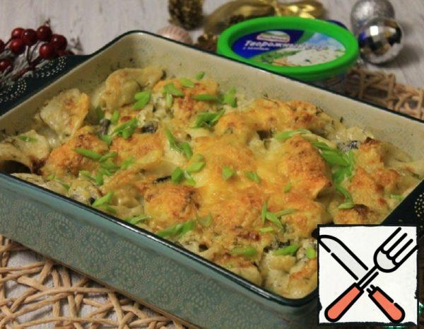 Cheese and Mushroom Casserole with Dumplings Recipe
