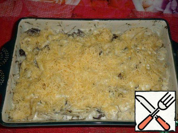 Sprinkle the grated cheese on the casserole and return to the oven for another 10-15 minutes.