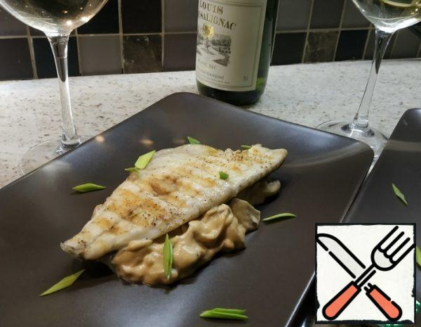 Sea Bass with White Wine and Mushrooms Recipe