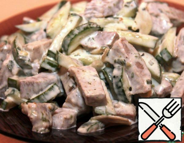 Meat Salad with Fresh Cucumber and Garlic Recipe