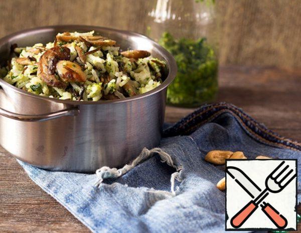 Rice with Mushrooms and Pesto Recipe