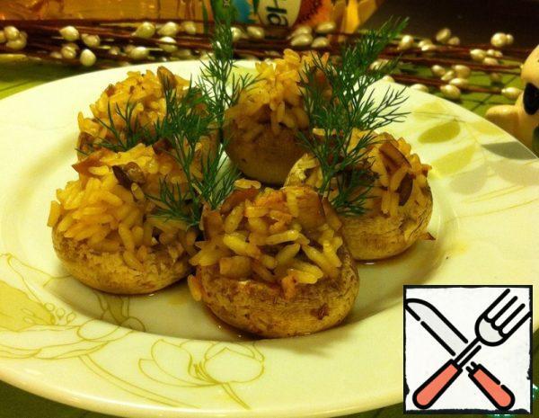 Mushrooms stuffed with Rice Recipe