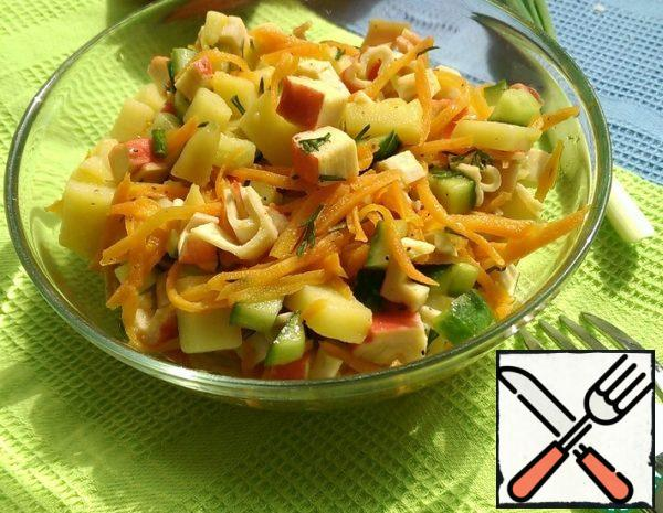 Salad with Crab Sticks and Vegetables  Recipe
