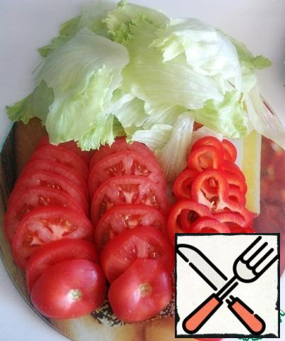 Our products: tomatoes, bell peppers and salmon.