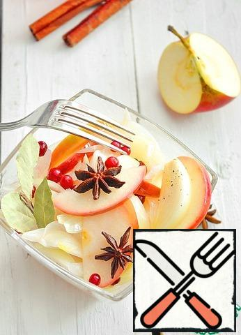 Pour the hot marinade over the onion and apples, add the cranberries. Leave it to cool completely and put it in the refrigerator for a day. Such onions are stored in the marinade in the refrigerator for about 2 weeks. A wonderful appetizer for grilled dishes or potatoes! Before serving, if desired, you can pour sunflower oil.