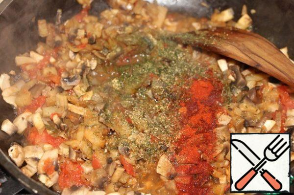 Add the diced tomato, dried dill and basil, stir, and simmer for another 5 minutes. Allow the mushroom mixture to cool slightly.