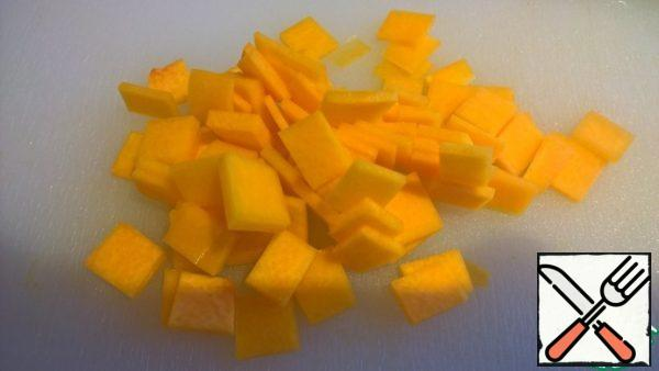 And cut into squares of 1 cm by 1 cm by 1-2 mm (to make it easier to chew).