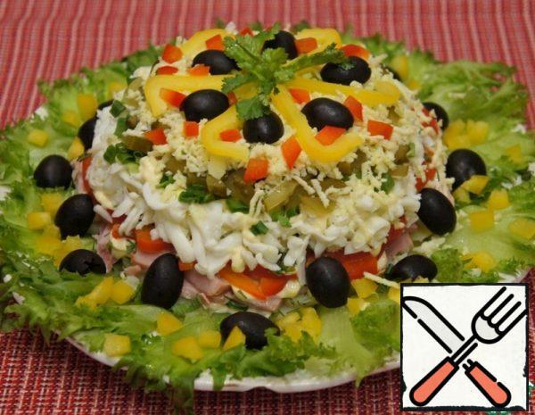Layered Ham Salad with Olives Recipe