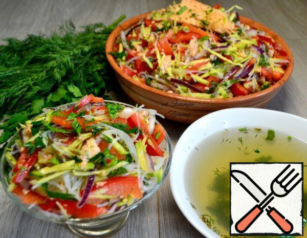 Salad with Funchosa and Trout Recipe