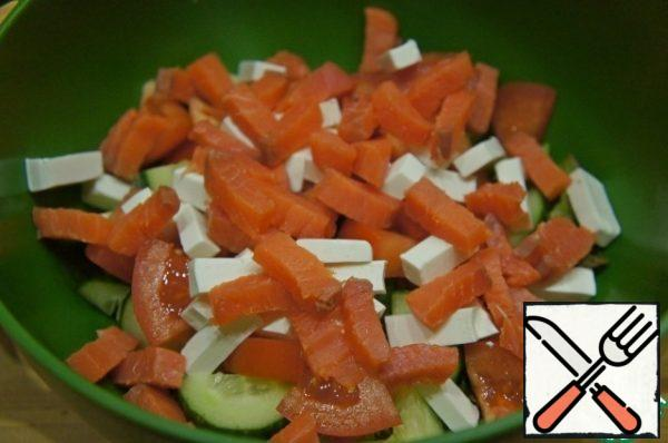 And sliced salmon in the same way.