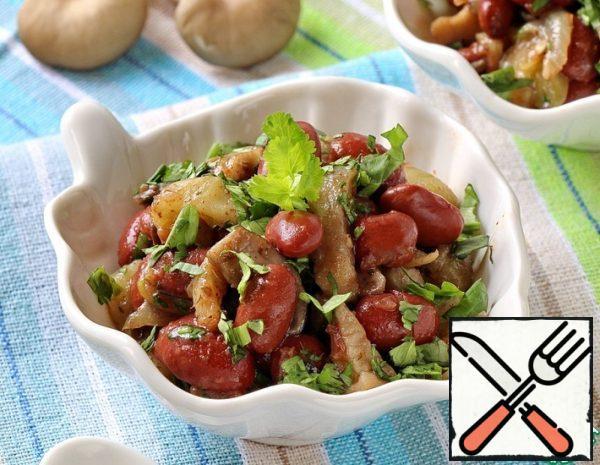 Salad of Beans, Eggplant and Mushrooms Recipe