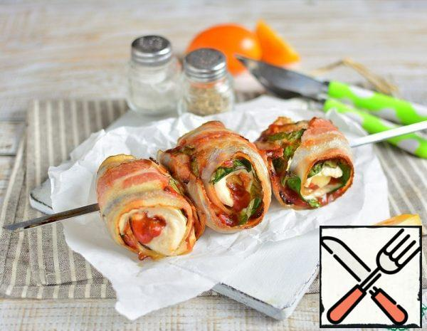 Grilled Bacon Rolls with Turkey Recipe