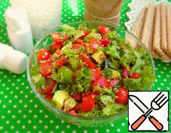 Vegetable Salad with Avocado and Sesame Seeds Recipe