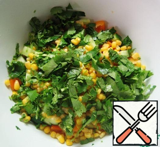 Cut the coriander greens, add to the rest of the salad ingredients.