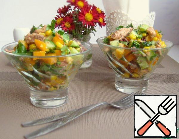 Salad with Tuna, Vegetables and Coriander Recipe
