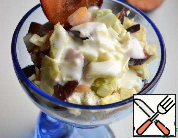 Salad with Cabbage, Cottage Cheese and Plums Recipe