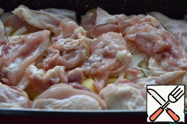 Lay out the chicken. Lightly pour over the sour cream mixture.
