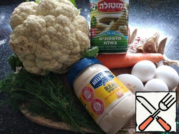 Necessary products. Boil the eggs and carrots until tender.