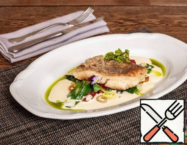Halibut Fillet with Spinach and Sauce Recipe