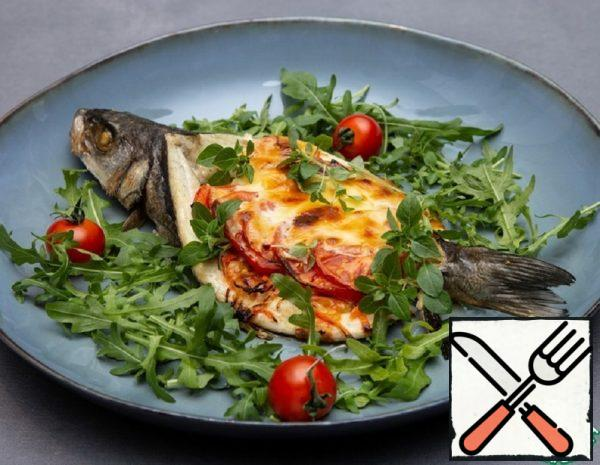 Baked Sea Bass with Cheese and Vegetables Recipe