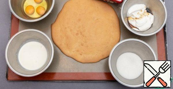 Making cheesecake.