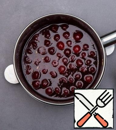 Glaze: bring the water to a boil and add a thin stream of pre-mixed sugar and pectin, then add the cherries and cook for about a minute and a half.