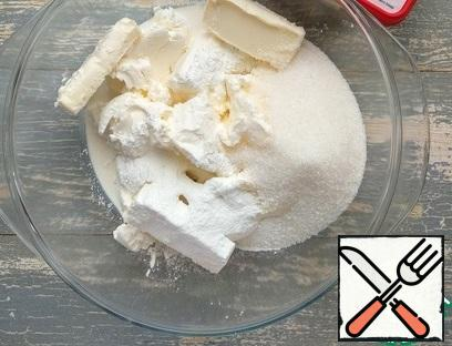 In a container, combine cottage cheese, softened butter, sugar, starch, salt, cream. Mix well until smooth.