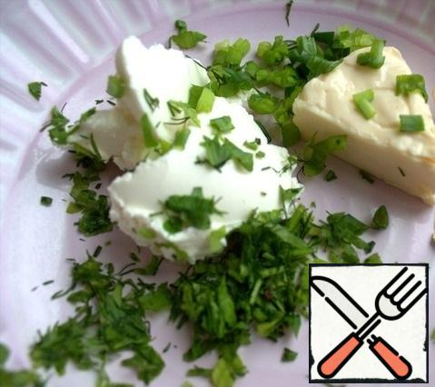 For the filling, we will use melted cheese. I added cream cheese and herbs to the melted cheese.