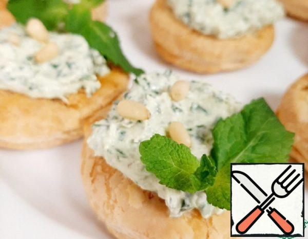 Tartlets with Cottage Cheese Filling and Pesto Recipe