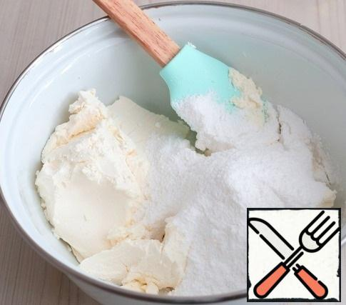 Then add powdered sugar (150 gr.). Mix well.