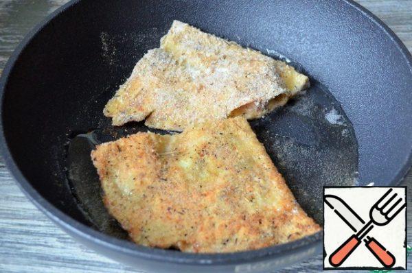 Fry for 1-1. 5 minutes, medium heat.