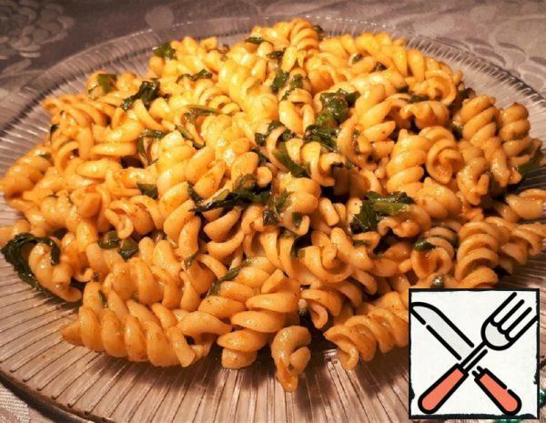 Vegan Pasta with Adzhika and Spinach Recipe