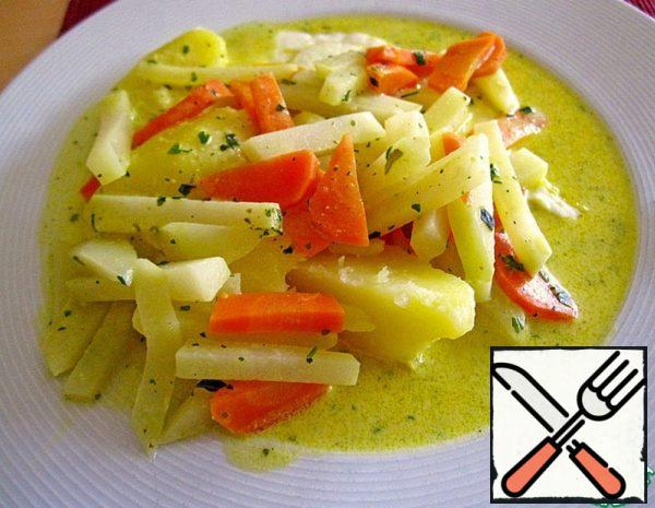 Kohlrabi with Carrots and Curry Sauce Recipe