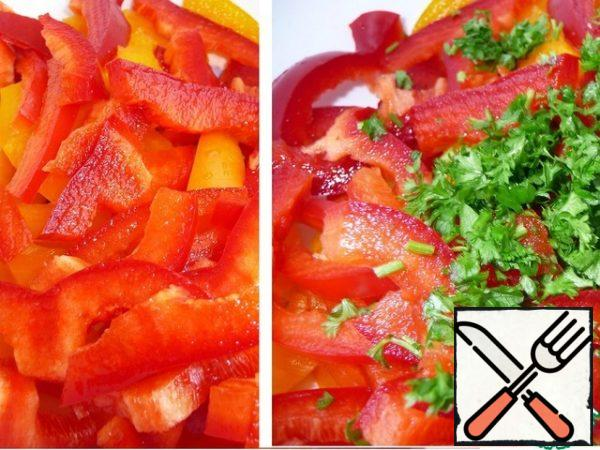Cut the peppers into thin strips. Add the chopped parsley.