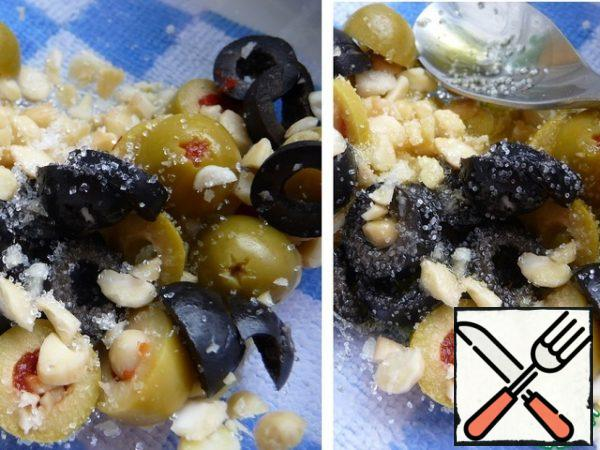 Add a little salt, add olive oil, add sugar, and mix.